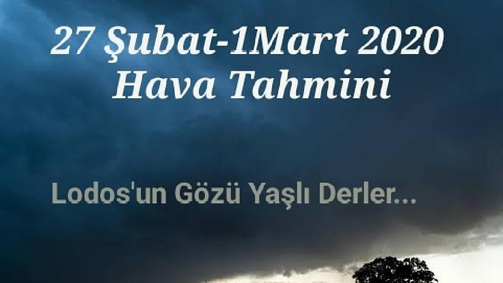 27 Şubat - 1 Mart 2020 Antalya Hava Durumu Tahmini