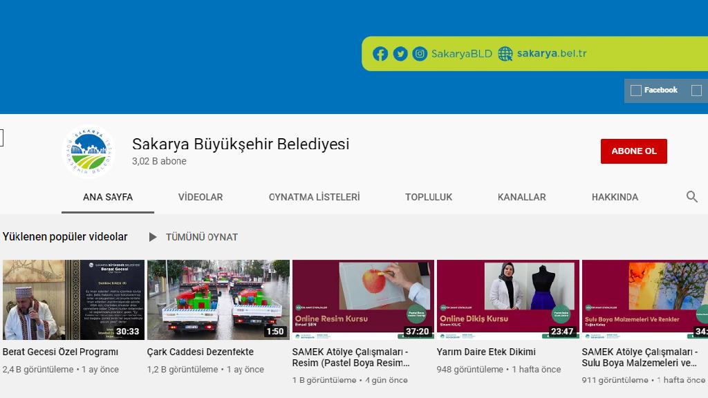 Sakarya Büyükşehir Belediyesi Youtube Kanalı
