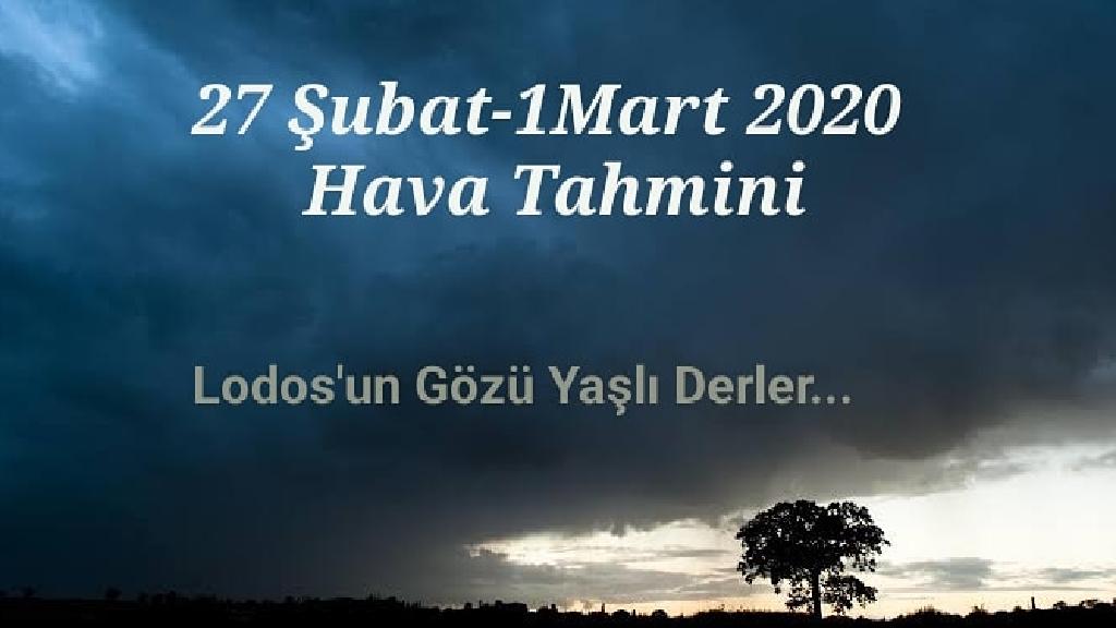 27 Şubat - 1 Mart 2020 İzmir Hava Durumu Tahmini